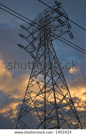 high tension overhead power wires - stock photo