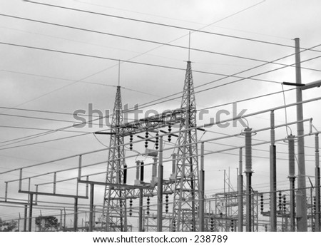 high tension wires coming into a power station