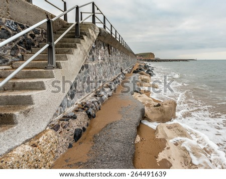 High Tide at the Seawall in March - stock photo