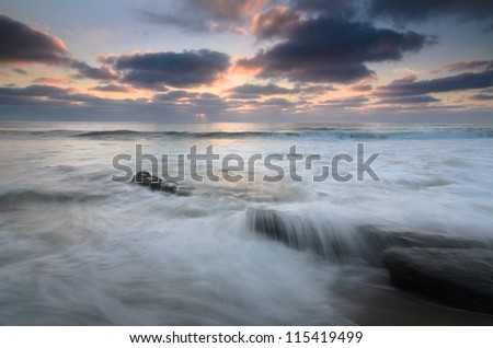 High Tides at Wind an sea - stock photo