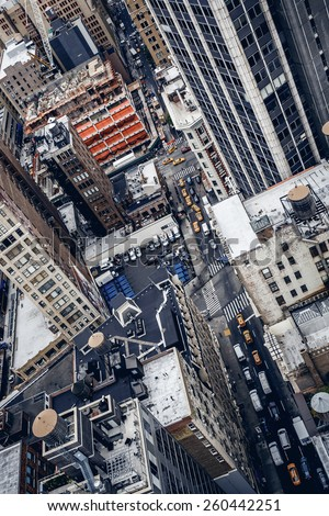 High top view of city buildings in New York - stock photo
