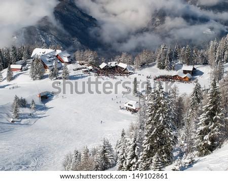 High top view on ski resort Krvavec, Slovenia. - stock photo