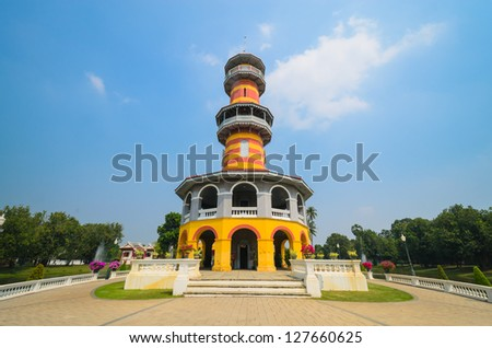 High tower in bang-pa-in park at ayutthaya province.