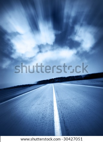 high velocity on route - stock photo