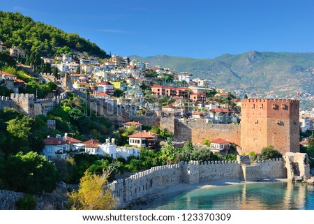 High view of Alanya bay. Turkey - stock photo