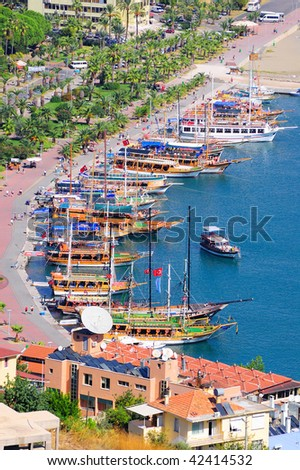 High view of Alanya bay. Turkey