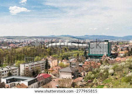 High View Of Cluj Napoca City Buildings And Stadium In Romania - stock photo