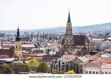 High View Of Cluj Napoca City In Romania - stock photo