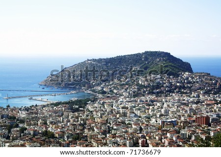 High view of famous holiday resort in Turkey, Alanya - stock photo