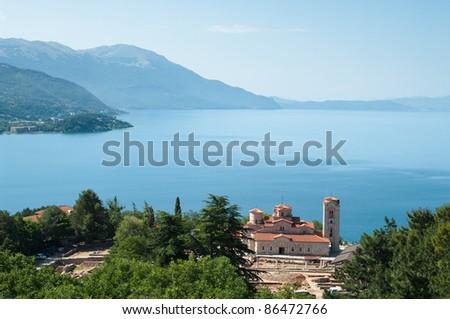 high view of Sveti Kliment Church on majestic Ohrid lake, Republic of Macedonia - stock photo