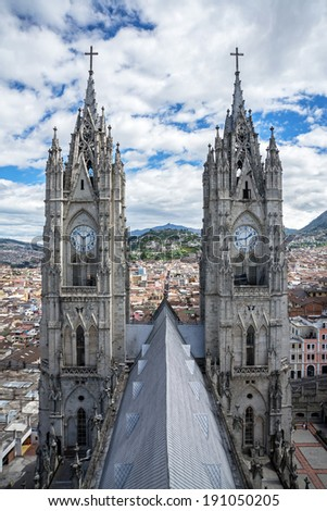 High view of the two steeples of the Basilica del Voto Nacional in Quito Ecuador - stock photo