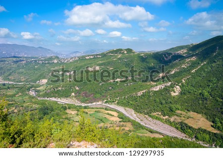 high view of the Valley Erzen River from footpath to the Pellumbas Cave, Albania - stock photo
