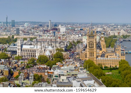 High View of Westminster Abbey and Palace of Westminster in London, UK - stock photo