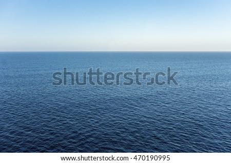 High view over an ocean horizon on a clear day