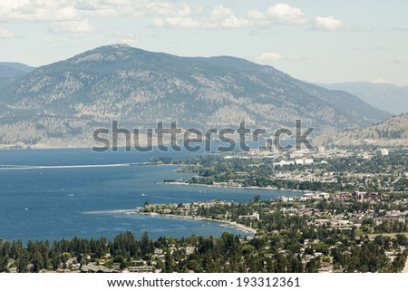 High View overlooking City of Kelowna - stock photo
