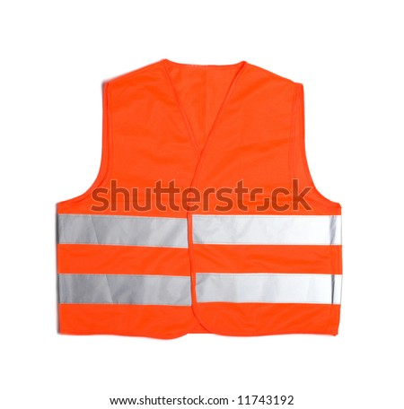 high visibility vest isolated on white - stock photo