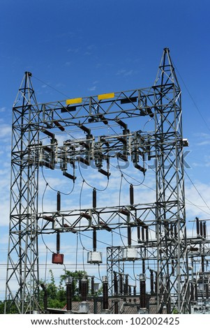 High voltage and blue sky - stock photo