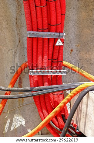High voltage cables - stock photo