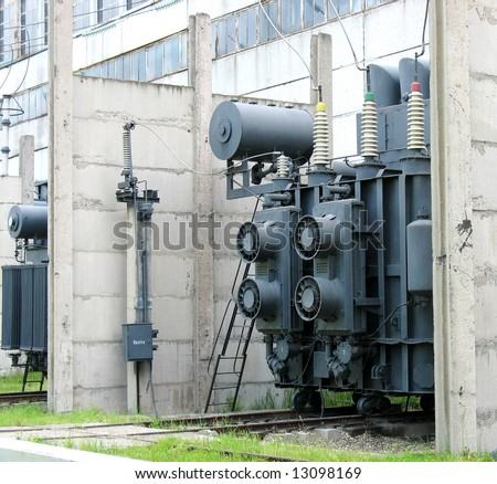 High voltage converter at a power plant - stock photo
