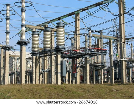 High voltage converter equipment at a power plant - stock photo