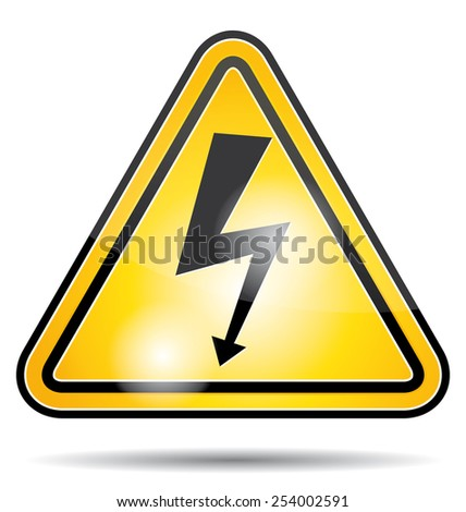 High voltage danger panel. Electricity icon. - stock photo