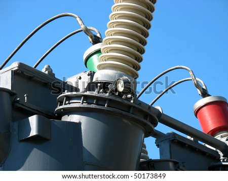 High voltage electric converter detail at a power plant - stock photo