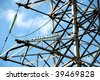 High voltage electric line at the field - stock photo