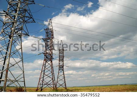 High voltage electric line at the field