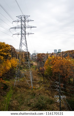 High voltage electric line in Toronto - stock photo