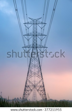 high voltage electric pole outback scene