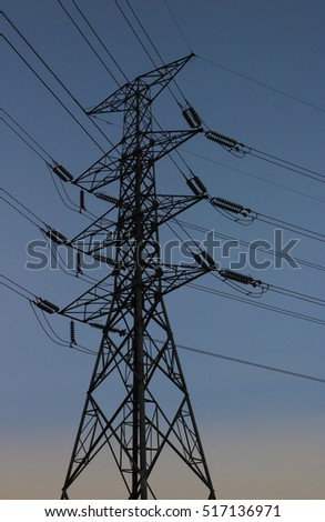 High-voltage electric pole silhouette