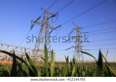 high voltage electric power steel tower, closeup of photo