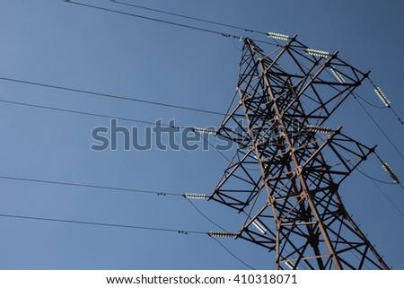 high voltage electric pylon - stock photo