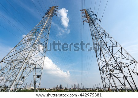 High voltage electric tower in the blue sky white cloud background
