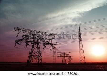 High voltage electric tower line