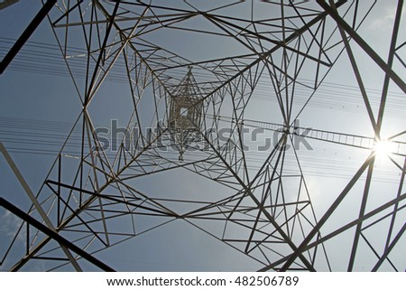 high voltage electric tower with beautiful sky background