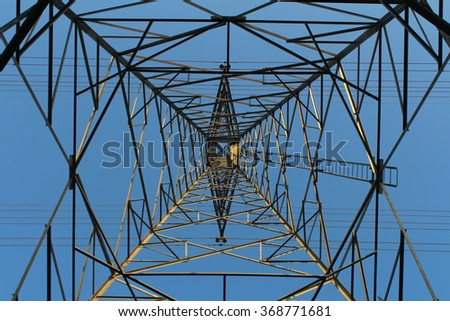 High voltage electric tower with beautiful sky background after the rain