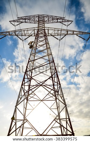 High Voltage Electric Transmission Tower - stock photo