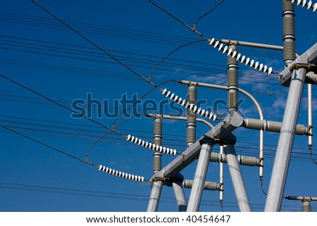 High Voltage Electrical Substation Insulators - stock photo