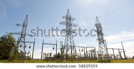 High voltage electricity pillars, pano - stock photo