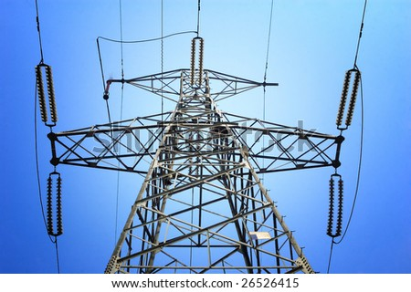 High voltage electricity pole - stock photo