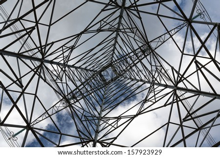 high voltage electricity pylon and the sky
