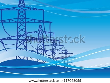 High voltage electricity pylons over sky,  Illustration