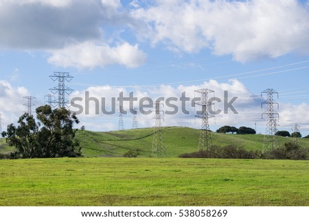 High voltage electricity towers, California