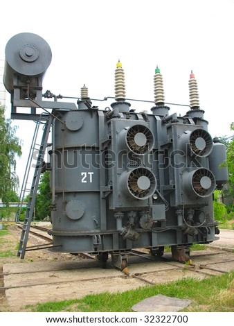 High voltage industrial converter at a power plant - stock photo