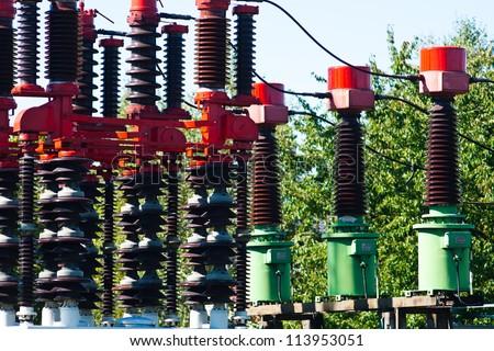 High voltage insulators - stock photo