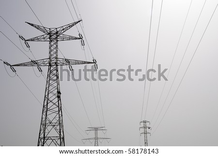 high voltage line - stock photo