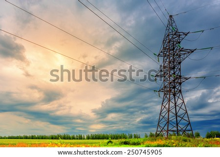 High voltage line on a background of thunderclouds
