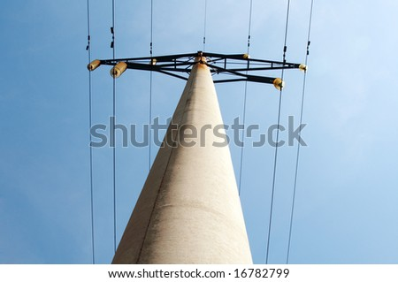 high voltage line on the sky background