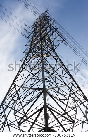 high-voltage line on the sky background
